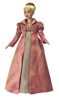 Regency day dress and pelisse from Boneka Doll Fashions for Tiny Kitty Tonner doll (10 inch).