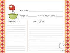 Resultado de imagem para caderno de receitas para imprimir