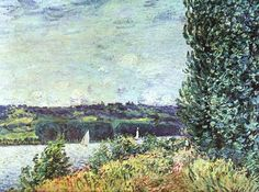 Banks of the Seine, Wind Blowing by Alfred Sisley #art