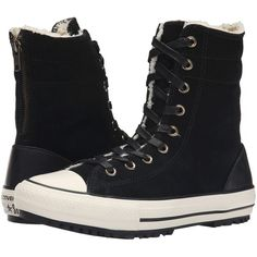 Converse Chuck Taylor All Star Hi-Rise Boot Women's Classic Shoes,... ($68) ❤ liked on Polyvore featuring shoes, boots, black, fur boots, zipper boots, black zipper boots, lacing boots and black zip boots