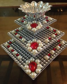 Try this as corner fits stand Thali Decoration Ideas, Diy Diwali Decorations, Festival Decorations, Handmade Decorations, Wedding Decorations, Tile Crafts, Craft Stick Crafts, Diy And Crafts, Diwali Diy