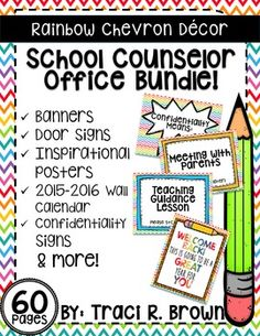 2015  2016 Rainbow Chevron School Counselor Office Dcor (Bundle) Welcome back to school! Here is a rainbow chevron school counselor office dcor bundle! This is a great addition to any school counselor office! Also includes posters, calendars and more!