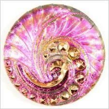 CZECH NOUVEAU IRIS PINK SPIRAL FLOWER GLASS BUTTON