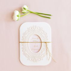 Embossed Pearls and Lace with Aqueous Personalization - Invitation Pastel Pink (24)