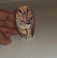 OOAK Original Hand Painted Orange red ginger tabby cat by ROCK ART USA