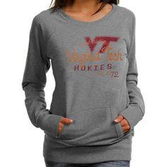 Virginia Tech Hokies Ladies Ash Scoop Neck Fleece Sweatshirt