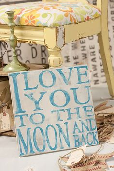 To The Moon And Back  Hand Painted Sign by TheHouseofBelonging, $25.00