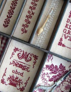 redwork cross stitch into little frames/pockets for wall hanging/display Just Cross Stitch, Cross Stitch Borders, Counted Cross Stitch Patterns, Cross Stitch Charts, Cross Stitching, Folk Embroidery, Cross Stitch Embroidery, Embroidery Patterns, Alphabet