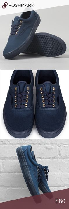Vans Era Mono Gold Dress Blues 10 Mens/ 12 Women NWB Vans monochrome skate shoes in dress blue (deep blue), gold metal grommets listed for $100 on SoleMateSneakers.com, box lid ripped Fyi Vans Shoes Sneakers