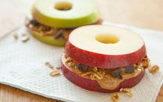apple + peanut butter + granola + chocolate chips. heathyfeathy