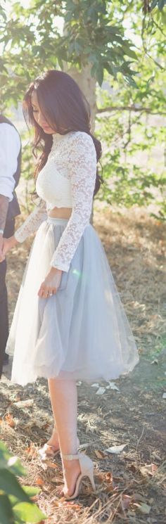 Midi tulle skirt with lace crop top. Engagement shoot. Love, outfit