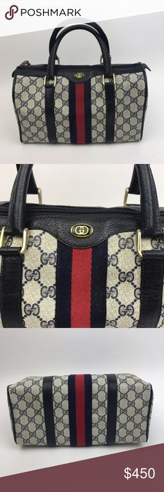 """[Gucci] Vintage Monogram Canvas Web Boston Bag 80s Iconic vintage Gucci Boston Bag from the early 1980's. Signature logo web coated canvas. Navy blue leather trim and fabric. Zip top with blue fabric lined interior and inside zip pocket. Red and blue stripe down front. Stamped Gucci Accessory Collection. Made in Italy. Serial number on tag.   🔹Dimensions: 11""""L x 7""""H x 5""""D 🔹Strap Drop: 4"""" 🔹Condition: Good vintage/pre-owned condition. Interior lining is peeling (common with vintage Gucci)…"""