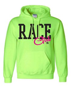 """Be a true Race Girl in this super soft and comfy Bright Green (neon) hoodie from Dirty Girl Racewear. Large Black letters spell the word """"RACE"""" and """"Girl"""" is written in hot pink with a glitter overlay"""