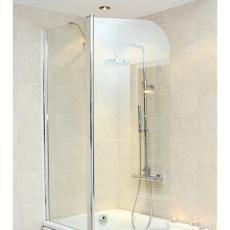Strømberg Galera todelt bruseskærm 620+560mm t/badekar m/svingfunktion, Klart glas/Krom profiler