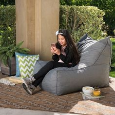 Shop for Tulum Outdoor Water Resistant Fabric Bean Bag Lounger by Christopher Knight Home. Get free delivery at Overstock - Your Online Garden & Patio Shop! Get in rewards with Club O! Outdoor Sofa Sets, Outdoor Seating, Outdoor Furniture, Accent Furniture, Outdoor Living, Bean Bag Lounger, Bean Bag Chair, Patio Store, Outdoor Bean Bag