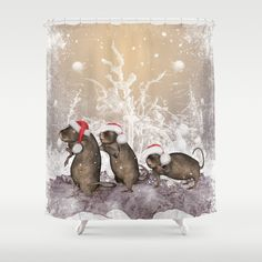 Funny christmas rats Shower Curtain by