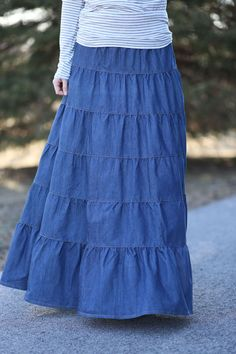 Tiered Denim Modest Long Skirt