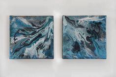 Twee-luik abstract giettechniek met acryl op doek.