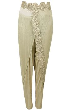 Gold embroidered lace draped dhoti pants available only at Pernia's Pop-Up Shop.