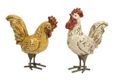 """Parson Roosters - Set of 2 - This set of two Parson's Roosters feature rustic crackle finishes in cream and butternut. This set looks great in a variety of spaces! Material: 100% Ceramic. 9.75-11""""h x 10.75-8.75""""w x 4""""."""