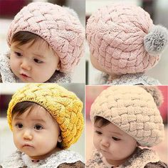 b8311e47859 Baby Winter Hats Caps For Kids Girls Baby Photo Props Beanie gorros Crochet  Toddler Cap Pompon Hats for Girls Warm Baby Hat