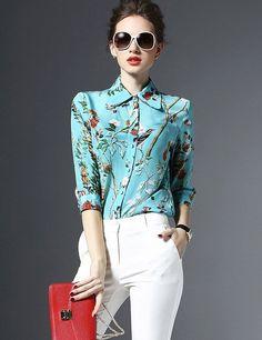 Chic Style Flower Printed Elegant Blouse