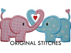 Heart Elephants Machine Applique and by OriginalStitches on Etsy