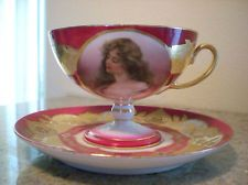 SIGNED ANTIQUE TEA CUP & SAUCER ; CARLSBAD,AUSTRIA, IMPERIAL H
