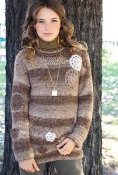 Джемпер с круглыми мотивами - схема вязания крючком. Вяжем Джемперы на Verena.ru