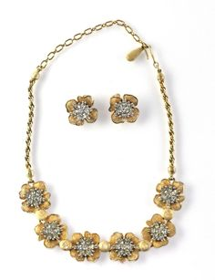 Vintage PENNINO Brushed Gold Rhinestone Rose Necklace Earring Set #Pennino