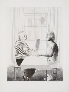 Artist and Model (hard and soft-ground etching) 1973-74, David Hockney