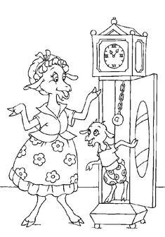 kleurplaat De wolf en de 7 geitjes - Geitje uit de klok