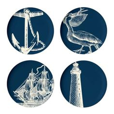 Nautical plates from AllModern--great housewarming gift for someone who loves Nautical stuff