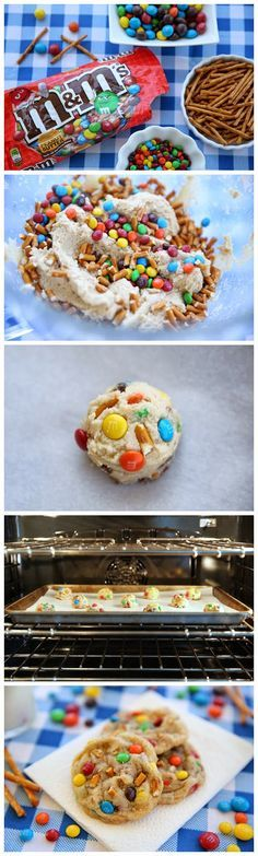 Salted Peanut Butter Pretzel M&M'S Cookies....only use red and green for some and blue for others :)