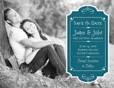 Cartouche Teal Wedding Photo Save the Date Cards by Invitation Duck...CUTE