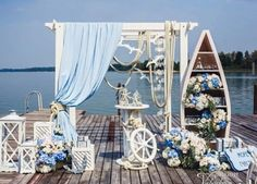 Celebrate a Wedding Party with 11 Nautical Themed Wedding Decorations Nautical Wedding Theme, Nautical Party, Nautical Backdrop, Nautical Style, Yacht Wedding, Wedding Ceremony, Destination Wedding, Decor Photobooth, Sailor Theme