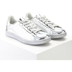 Forever21 Metallic Lace-Up Sneakers ($28) ❤ liked on Polyvore featuring shoes, sneakers, silver, low heel shoes, metallic platform shoes, cushioned shoes, lace up sneakers and metallic shoes