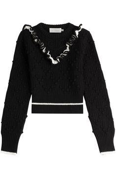 PREEN BY THORNTON BREGAZZI Cropped Wool Pullover with Ruffles. #preenbythorntonbregazzi #cloth #knitwear