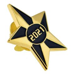 "2021 Blue and Gold Star Pin.  1"" gold plated with blue enamel color. $3.99"
