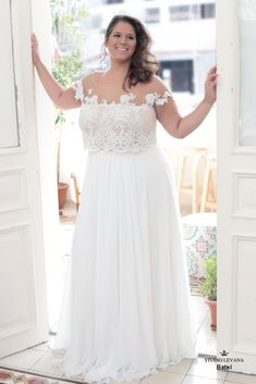 Crop top plus size wedding gown from Studio Levana for a fashion forward curvy bride