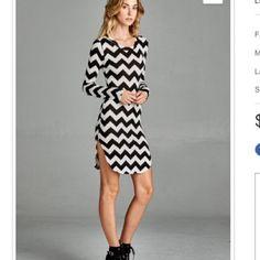 NWOT chevron short dress NWOT, lightweight, scoop neck short dress. Made in USA. 96% rayon, 4% spandex. Dresses