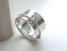 Romantic Daisy Flower Sterling Silver Spinner Ring