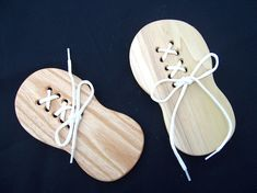Shaped like a childs shoe this handmade hardwood educational toy will help teach your child to lace Woodworking Projects For Kids, Wood Projects, Woodworking Toys, Woodworking Software, Woodworking Chisels, Woodworking Workshop, Wooden Crafts, Wooden Diy, Wooden Shoe