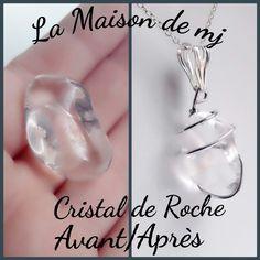 Pendentif Cristal de Roche  Bijou cristal de roche  Pendentif pierre naturelle