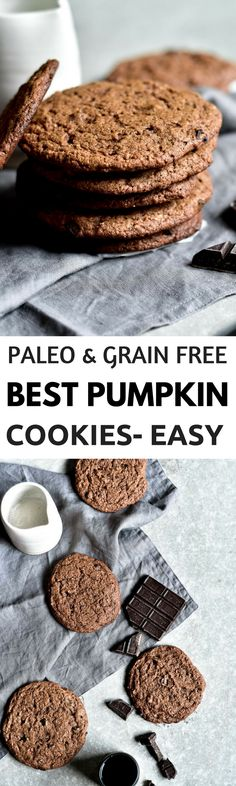 Grain free gluten free healthy paleo almond butter pumpkin spice chocolate chip cookies perfect for fall dessert healthy snack on the go or breakfast cookie! Packed with natural protein. Cookies Healthy, Healthy Cookie Recipes, Paleo Treats, Thm Recipes, Healthy Sweets, Free Recipes, Healthy Snacks, Pumpkin Cookie Recipe, Recipes