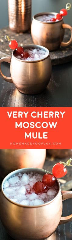 Very Cherry Moscow Mule! A cherry twist on the classic (and popular!) moscow mule, made with cherry vodka and maraschino cherries. | HomemadeHooplah.com