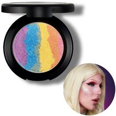 Amazon.com : Travelmall Rainbow Highlighter eyeshadow Makeup Palette... ($12) ❤ liked on Polyvore featuring beauty products, makeup, eye makeup, eyeshadow and palette eyeshadow