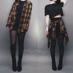 Ways to Wear Chic Grunge Outfits in Spring Grunge fashion is based on the grunge music scene. Grunge outfits are mostly comfortable, dirty, torn, checkered and heavily infused with flannel – Plaid Shirt Outfits, Crop Top Outfits, Fall Outfits, Blazer Outfit, Summer Outfits, Romper Outfit, Cute Outfits With Flannels, Outfits With Tights, Black Skirt Outfits