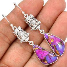 Owl - Copper Purple Turquoise 925 Sterling Silver Earrings Jewelry SE122821 | eBay