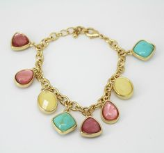Anne Klein Multi Color Stone Gold-Tone Charm Chain Bracelet #AnneKlein #Chain